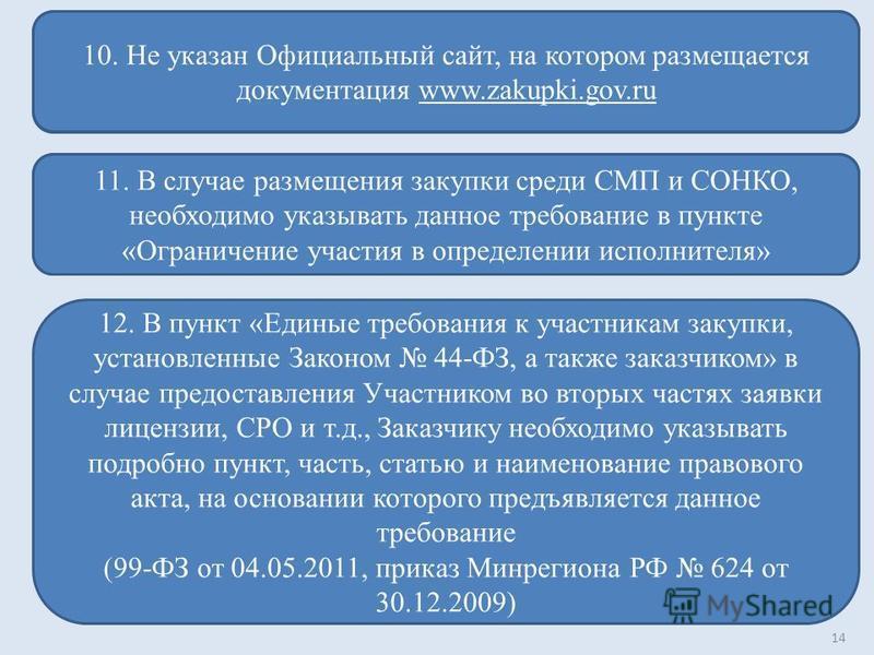 14 10. Не указан Официальный сайт, на котором размещается документация www.zakupki.gov.ru 11. В случае размещения закупки среди СМП и СОНКО, необходимо указывать данное требование в пункте «Ограничение участия в определении исполнителя» 12. В пункт «