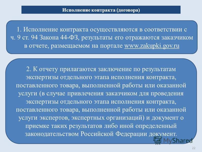 22 Исполнение контракта (договора) 1. Исполнение контракта осуществляются в соответствии с ч. 9 ст. 94 Закона 44-ФЗ, результаты его отражаются заказчиком в отчете, размещаемом на портале www.zakupki.gov.ru 2. К отчету прилагаются заключение по резуль