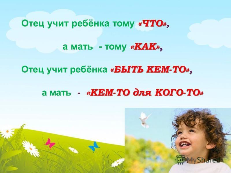 «ЧТО» Отец учит ребёнка тому «ЧТО», «КАК», а мать - тому «КАК», «БЫТЬ КЕМ-ТО», Отец учит ребёнка «БЫТЬ КЕМ-ТО», «КЕМ-ТО для КОГО-ТО» а мать - «КЕМ-ТО для КОГО-ТО»