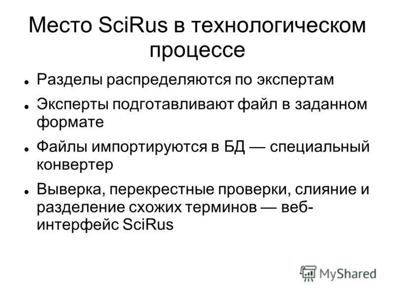 Место SciRus в технологическом процессе Разделы распределяются по экспертам Эксперты подготавливают файл в заданном формате Файлы импортируются в БД специальный конвертер Выверка, перекрестные проверки, слияние и разделение схожих терминов веб- интер