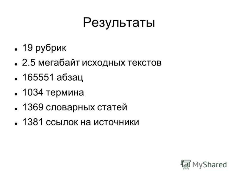 Результаты 19 рубрик 2.5 мегабайт исходных текстов 165551 абзац 1034 термина 1369 словарных статей 1381 ссылок на источники