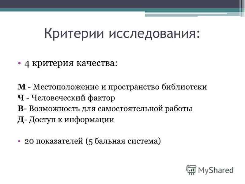 Критерии исследования: 4 критерия качества: М - Местоположение и пространство библиотеки Ч - Человеческий фактор В- Возможность для самостоятельной работы Д- Доступ к информации 20 показателей (5 бальная система)
