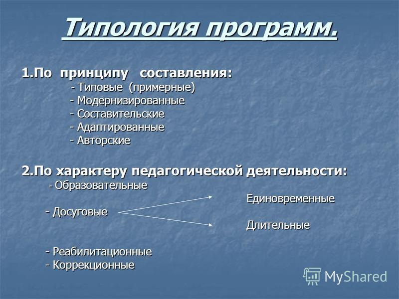 Типология программ. 1. По принципу составления: - Типовые (примерные) - Типовые (примерные) - Модернизированные - Модернизированные - Составительcкие - Составительcкие - Адаптированные - Адаптированные - Авторские - Авторские 2. По характеру педагоги