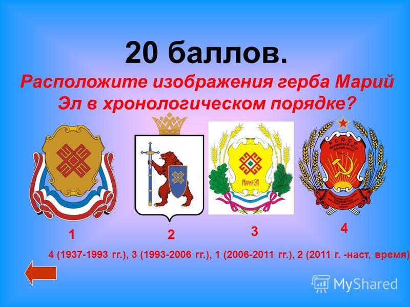 20 баллов. Расположите изображения герба Марий Эл в хронологическом порядке? 12 3 4 4 (1937-1993 гг.), 3 (1993-2006 гг.), 1 (2006-2011 гг.), 2 (2011 г. -наст, время)