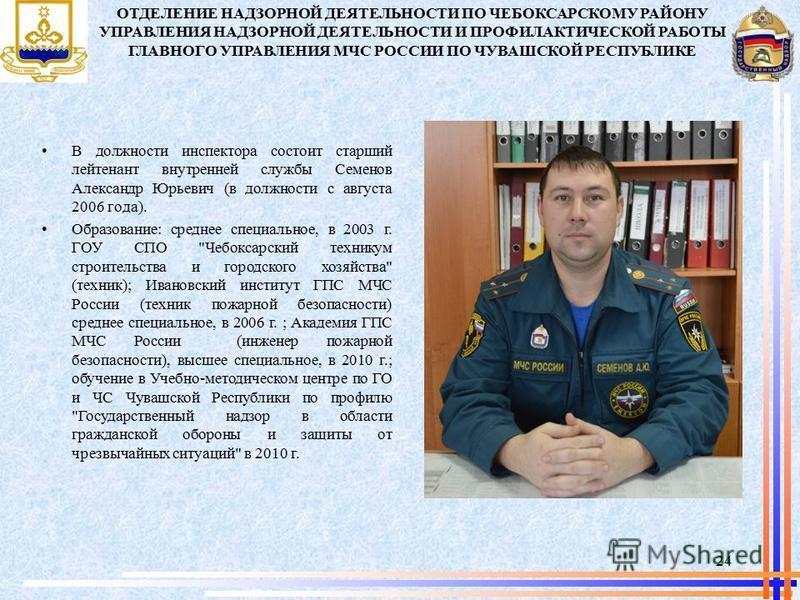 В должности инспектора состоит старший лейтенант внутренней службы Семенов Александр Юрьевич (в должности с августа 2006 года). Образование: среднее специальное, в 2003 г. ГОУ СПО