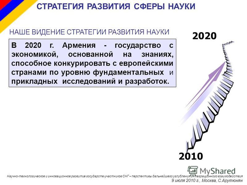 В 2020 г. Армения - государство с экономикой, основанной на знаниях, способное конкурировать с европейскими странами по уровню фундаментальных и прикладных исследований и разработок. НАШЕ ВИДЕНИЕ СТРАТЕГИИ РАЗВИТИЯ НАУКИ 201020 СТРАТЕГИЯ РАЗВИТИЯ СФЕ