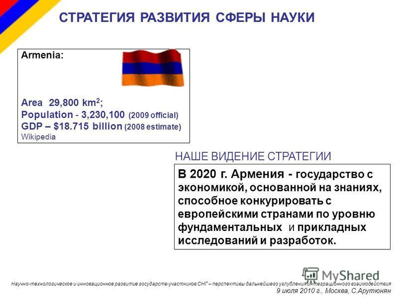 Armenia: Area 29,800 km 2 ; Population - 3,230,100 (2009 official) GDP – $18.715 billion (2008 estimate) Wikipedia В 2020 г. Армения - государство с экономикой, основанной на знаниях, способное конкурировать с европейскими странами по уровню фундамен