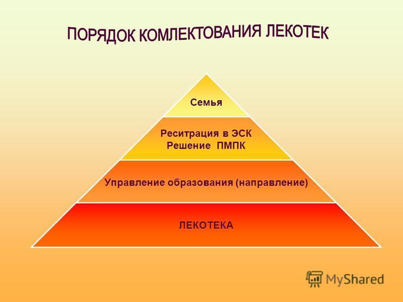 Семья Реситрация в ЭСК Решение ПМПК Управление образования (направление) ЛЕКОТЕКА