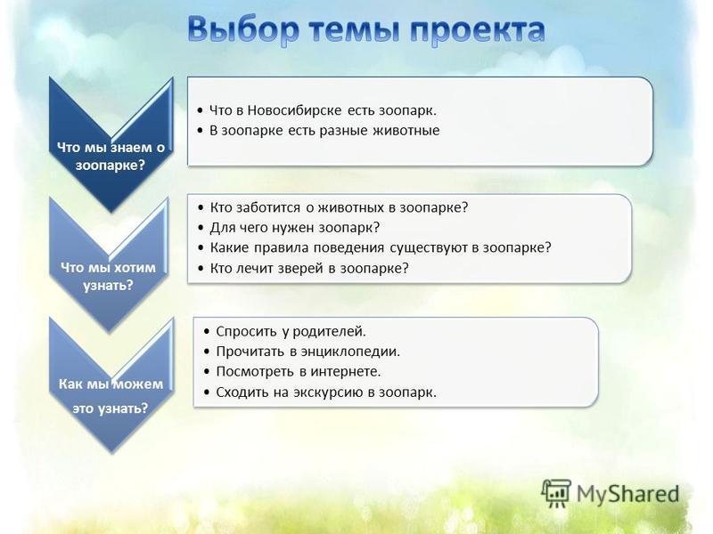 Что мы знаем о зоопарке? Что в Новосибирске есть зоопарк. В зоопарке есть разные животные Что мы хотим узнать? Кто заботится о животных в зоопарке? Для чего нужен зоопарк? Какие правила поведения существуют в зоопарке? Кто лечит зверей в зоопарке? Ка