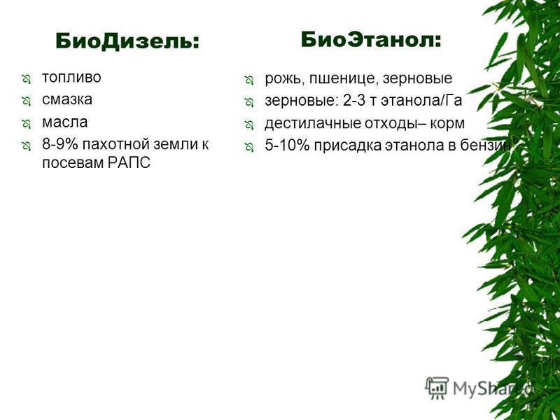 Био Дизель: топливо смазка масла 8-9% пахотной земли к посевам РАПС рожь, пшенице, зерновые зерновые: 2-3 т этанола/Га дестилачные отходы– корм 5-10% присадка этанола в бензин Био Этанол: