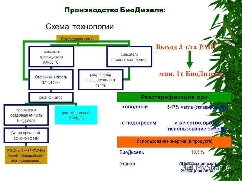 Производство Био Дизеля: Реэстерификация при - холодный 8-17% масла (складирование) - с подогревом > качествво, выход, использование энергии Использование энергии (в продукте) Био Дизель 10,3 % Этанол 28,9% (сах.свекла), 26,1% (пшеница) Выход 3 т/га