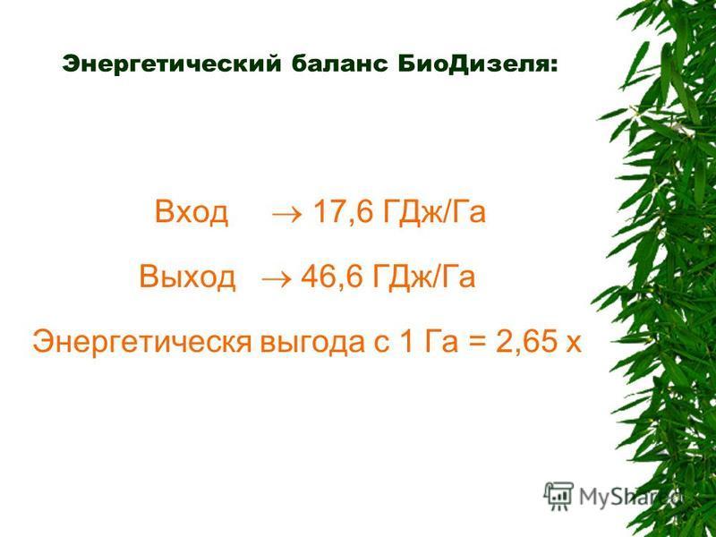 Энергетический баланс Био Дизеля: Вход 17,6 ГДж/Га Выход 46,6 ГДж/Га Энергетическя выгода с 1 Га = 2,65 x