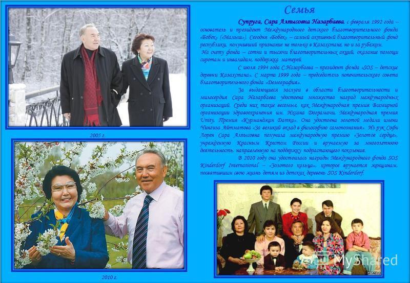 Семья Супруга, Сара Алпысовна Назарбаева, с февраля 1992 года – основатель и президент Международного детского благотворительного фонда «Бобек» («Малыш»). Сегодня «Бобек» – самый активный благотворительный фонд республики, получивший признание не тол