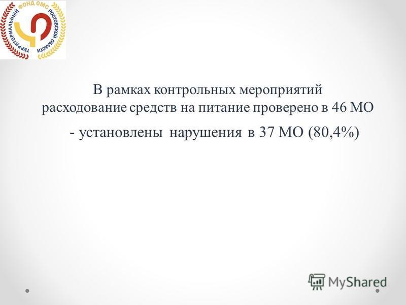 В рамках контрольных мероприятий расходование средств на питание проверено в 46 МО - установлены нарушения в 37 МО (80,4%)