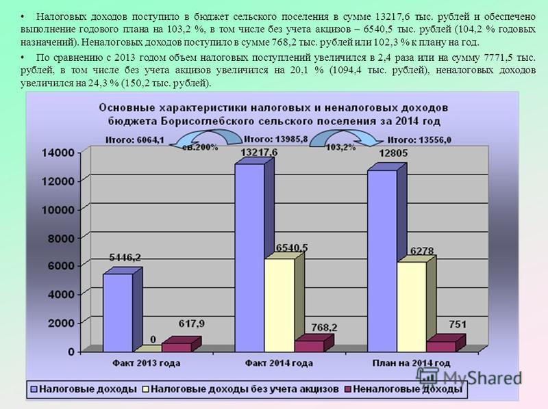 Налоговых доходов поступило в бюджет сельского поселения в сумме 13217,6 тыс. рублей и обеспечено выполнение годового плана на 103,2 %, в том числе без учета акцизов – 6540,5 тыс. рублей (104,2 % годовых назначений). Неналоговых доходов поступило в с