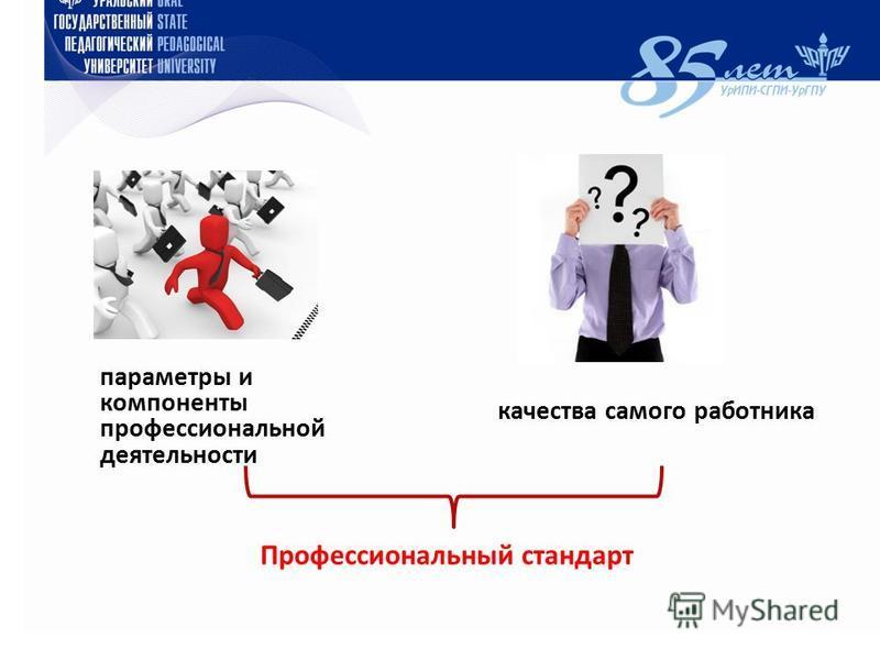 качества самого работника параметры и компоненты профессиональной деятельности Профессиональный стандарт