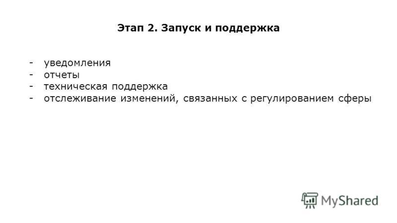 Этап 2. Запуск и поддержка -уведомления -отчеты -техническая поддержка -отслеживание изменений, связанных с регулированием сферы