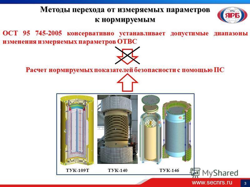 www.secnrs.ru 3 Методы перехода от измеряемых параметров к нормируемым ОСТ 95 745-2005 консервативно устанавливает допустимые диапазоны изменения измеряемых параметров ОТВС Расчет нормируемых показателей безопасности с помощью ПС ТУК-140ТУК-146ТУК-10