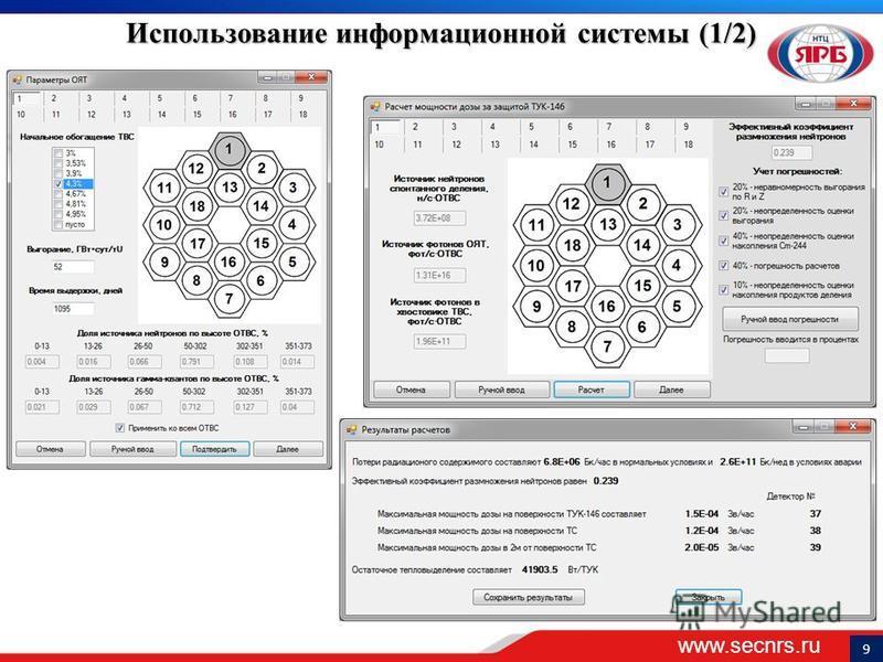 www.secnrs.ru 9 Использование информационной системы (1/2)