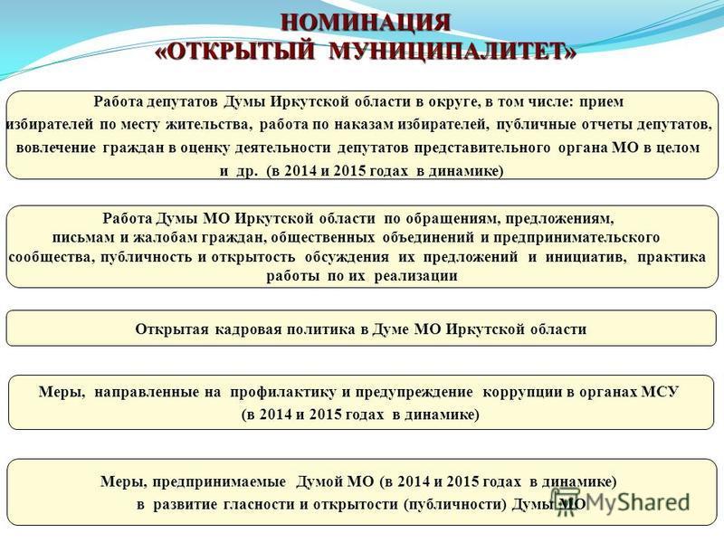 Работа депутатов Думы Иркутской области в округе, в том числе: прием избирателей по месту жительства, работа по наказам избирателей, публичные отчеты депутатов, вовлечение граждан в оценку деятельности депутатов представительного органа МО в целом и