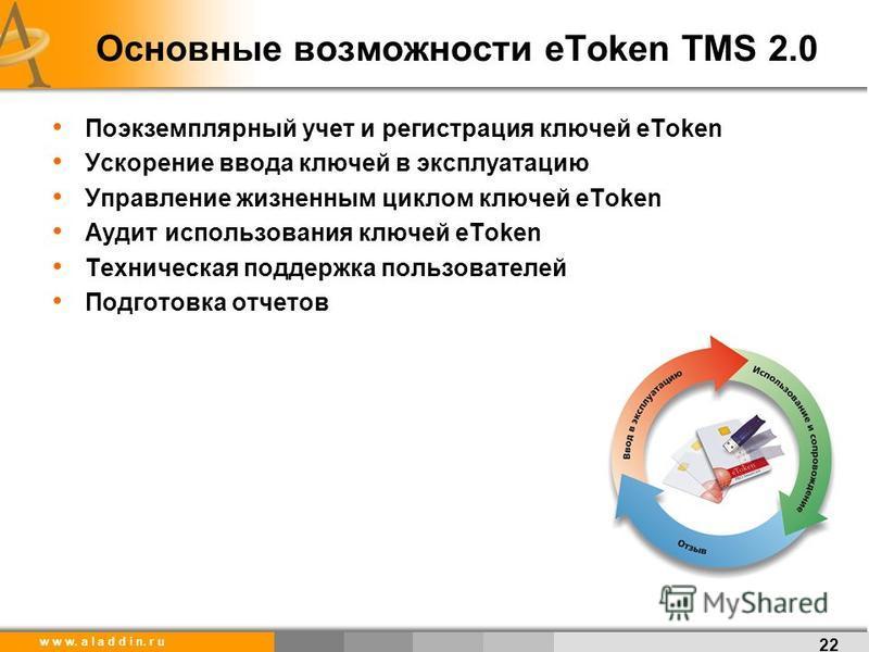 w w w. a l a d d i n. r u Основные возможности eToken TMS 2.0 Поэкземплярный учет и регистрация ключей eToken Ускорение ввода ключей в эксплуатацию Управление жизненным циклом ключей eToken Аудит использования ключей eToken Техническая поддержка поль