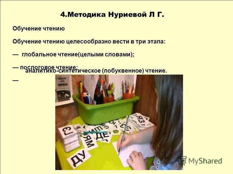 4. Методика Нуриевой Л Г. Обучение чтению Обучение чтению целесообразно вести в три этапа: глобальное чтение(целыми словами); послоговое чтение; аналитико-синтетическое (побуквенное) чтение.