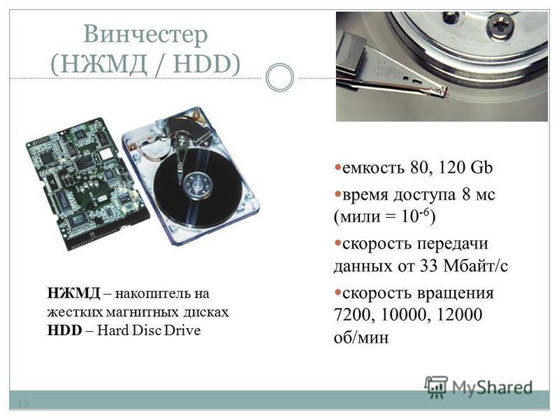 Оперативная память (ОЗУ / RAM) 12 72-пиновые разъемы SIMM 168-пиновые разъемы DIMM Время доступа от 70 до 4 нс (нано = 10 -9) Чаще всего используют модули динамической памяти SDRAM и DDR SDRAM (SDRAM II) - Double Date Rate SDRAM - удвоенная скорость
