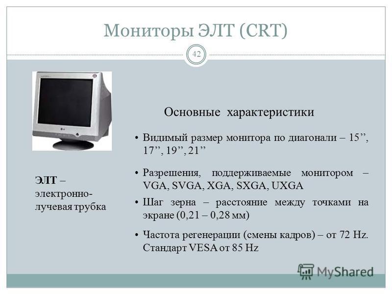 Мониторы ЭЛТ (CRT) 41 Свечение люминофора экрана под воздействием электронного луча, формируемого электронной пушкой. Люминофор - вещество, которое испускает свет при бомбардировке заряженными частицами. Люминофорный слой состоит из маленьких элемент