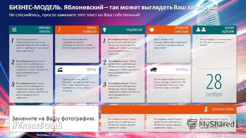 Slide GO.ru КЛЮЧЕВЫЕ ПАРТНЕРЫ БИЗНЕС-МОДЕЛЬ. – так может выглядеть Ваш заголовок БИЗНЕС-МОДЕЛЬ. Яблоневский – так может выглядеть Ваш заголовок Не стесняйтесь, просто замените этот текст на Ваш собственный ГЛАВНЫЕ АКТИВНОСТИ РЕСУРСЫ ПРЕДЛОЖЕНИЕ ОТНОШ