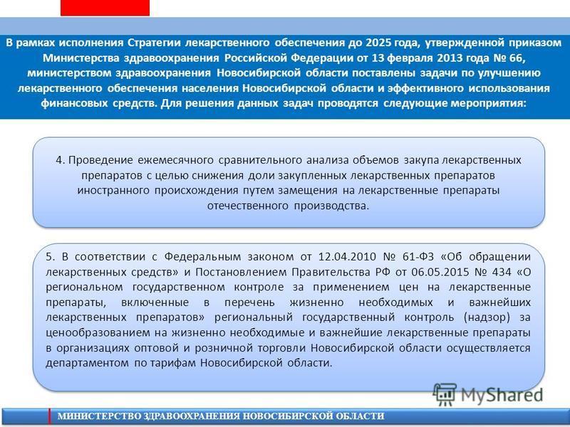 МИНИСТЕРСТВО ЗДРАВООХРАНЕНИЯ НОВОСИБИРСКОЙ ОБЛАСТИ В рамках исполнения Стратегии лекарственного обеспечения до 2025 года, утвержденной приказом Министерства здравоохранения Российской Федерации от 13 февраля 2013 года 66, министерством здравоохранени