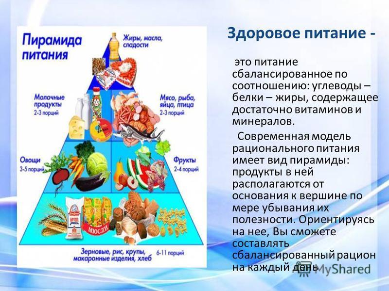 Здоровое питание - это питание сбалансированное по соотношению: углеводы – белки – жиры, содержащее достаточно витаминов и минералов. Современная модель рационального питания имеет вид пирамиды: продукты в ней располагаются от основания к вершине по