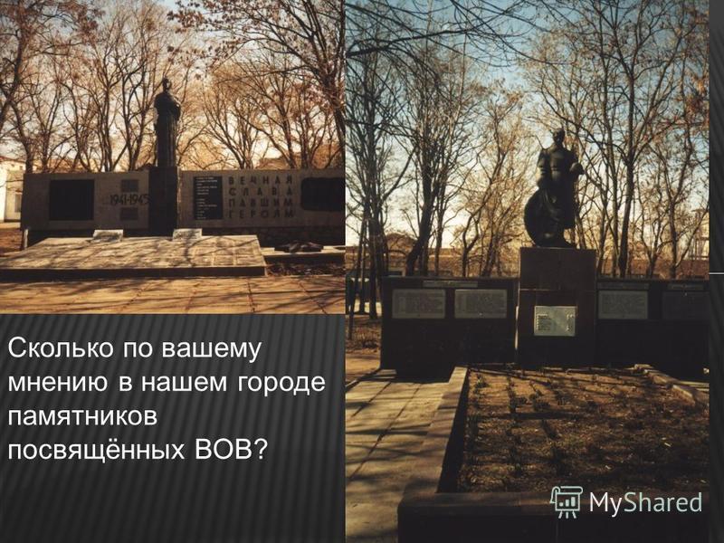 Сколько по вашему мнению в нашем городе памятников посвящённых ВОВ?