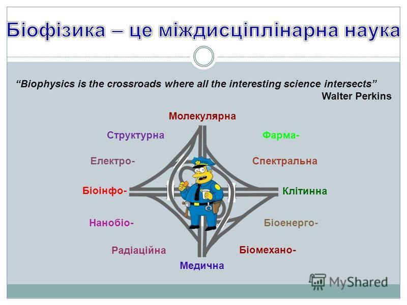Biophysics is the crossroads where all the interesting science intersects Walter Perkins Клітинна Молекулярна Медична Біоінфо- СтруктурнаФарма- Нанобіо-Біоенерго- Електро-Спектральна Біомехано- Радіаційна