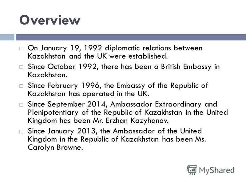 ABOUT KAZAKH-BRITISH RELATIONS presented by: Jan Kuzkovaya