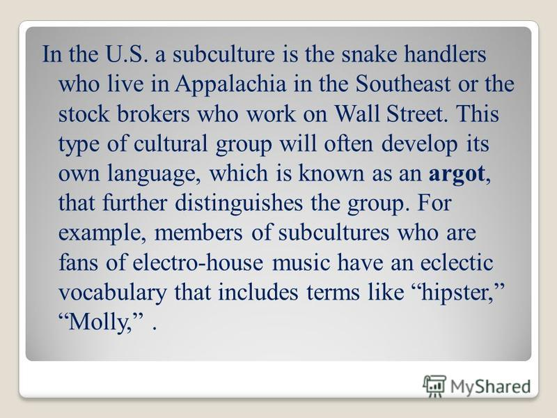 In the U.S. a subculture is the snake handlers who live in Appalachia in the Southeast or the stock brokers who work on Wall Street. This type of cultural group will often develop its own language, which is known as an argot, that further distinguish