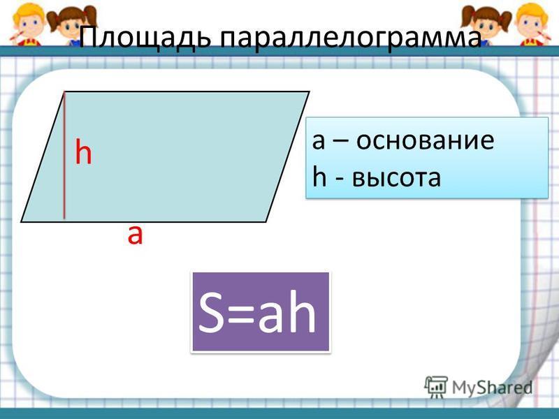 Площадь параллелограмма h a a – основание h - высота a – основание h - высота S=ah