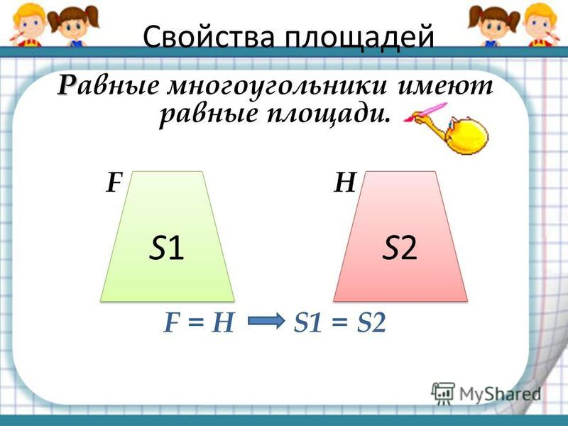 Свойства площадей Р Равные многоугольники имеют равные площади. F H F = H S1 = S2 S1S1 S1S1 S2S2 S2S2