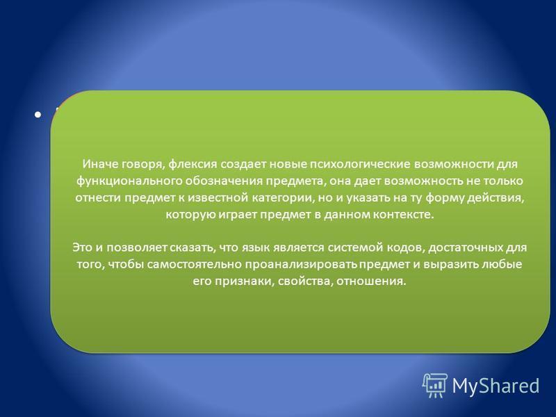 Во многих развитых языках (таких, как русский, немецкий, тюркский) слово имеет еще одну часть флексию, которая может меняться при употреблении слова чернильница, чернильнице, чернильниц, чернильницей, чернильниц), тем самым изменяя отношение, которое