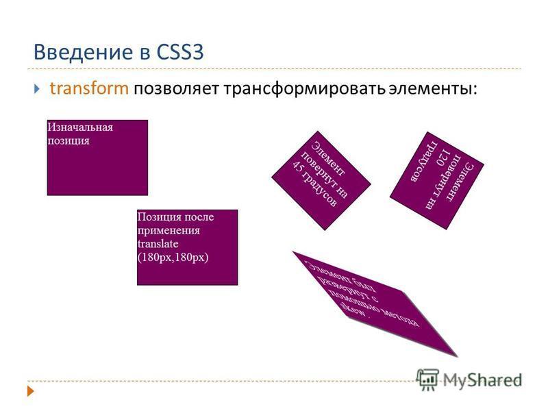 Введение в CSS3 transform позволяет трансформировать элементы: