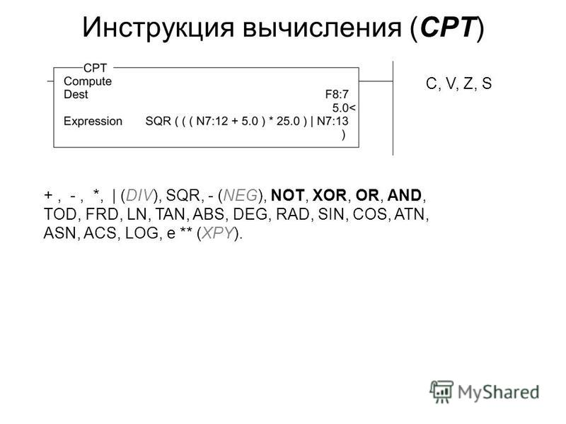 Инструкция вычисления (CPT) +, -, *, | (DIV), SQR, - (NEG), NOT, XOR, OR, AND, TOD, FRD, LN, TAN, ABS, DEG, RAD, SIN, COS, ATN, ASN, ACS, LOG, e ** (XPY). С, V, Z, S