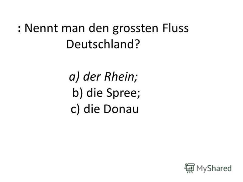 : Nennt man den grossten Fluss Deutschland? a) der Rhein; b) die Spree; c) die Donau