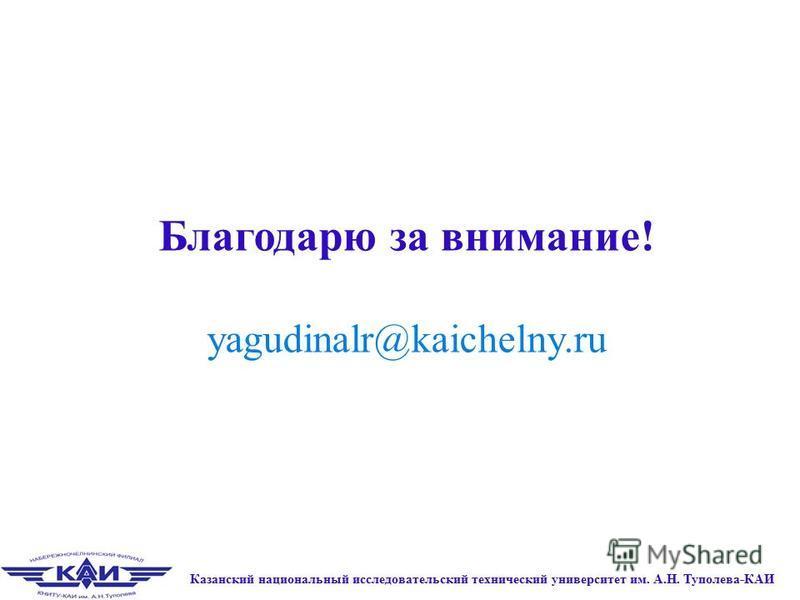 Благодарю за внимание! yagudinalr@kaichelny.ru Казанский национальный исследовательский технический университет им. А.Н. Туполева-КАИ