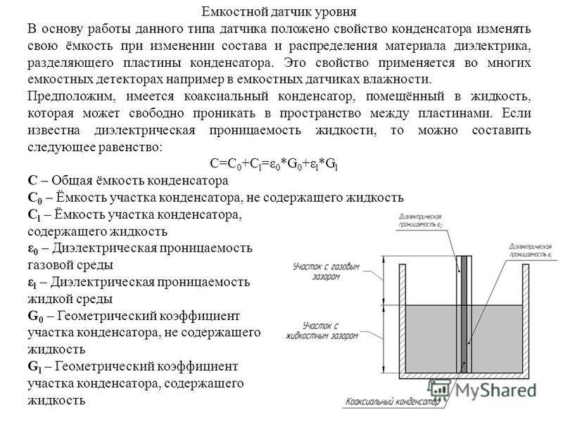 Емкостной датчик уровня В основу работы данного типа датчика положено свойство конденсатора изменять свою ёмкость при изменении состава и распределения материала диэлектрика, разделяющего пластины конденсатора. Это свойство применяется во многих емко