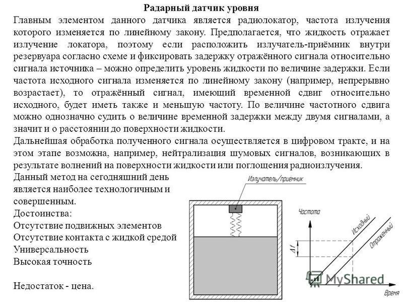 Радарный датчик уровня Главным элементом данного датчика является радиолокатор, частота излучения которого изменяется по линейному закону. Предполагается, что жидкость отражает излучение локатора, поэтому если расположить излучатель-приёмник внутри р