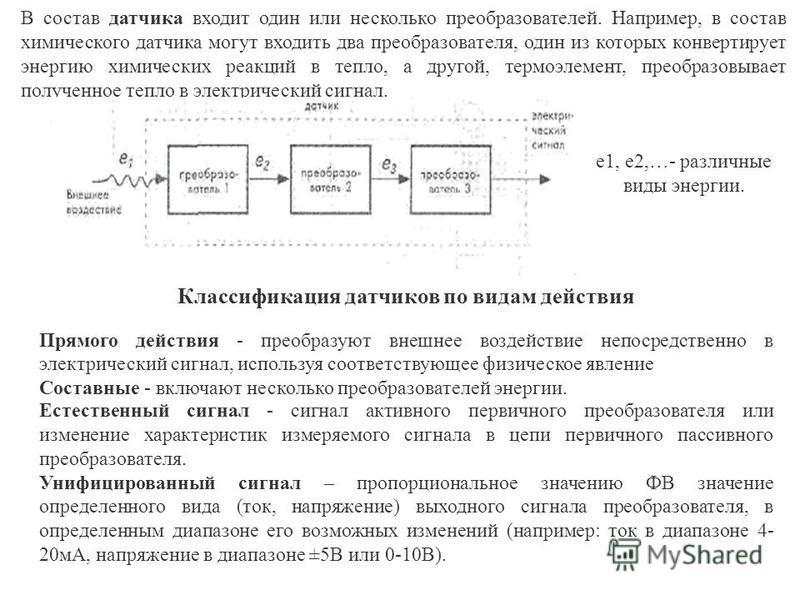Классификация датчиков по видам действия Прямого действия - преобразуют внешнее воздействие непосредственно в электрический сигнал, используя соответствующее физическое явление Составные - включают несколько преобразователей энергии. В состав датчика