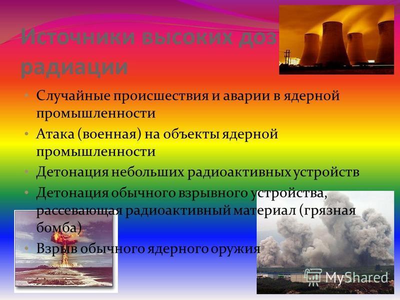 Источники высоких доз радиации Случайные происшествия и аварии в ядерной промышленности Атака (военная) на объекты ядерной промышленности Детонация небольших радиоактивных устройств Детонация обычного взрывного устройства, рассевающая радиоактивный м