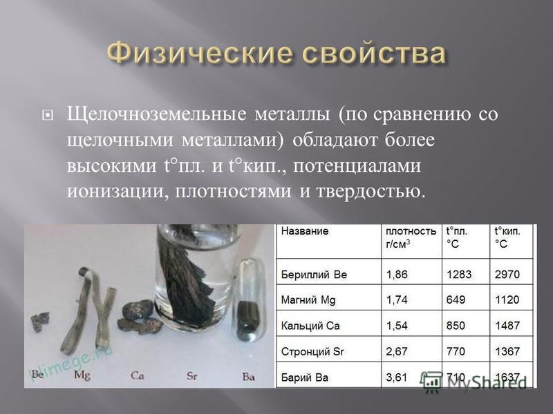 Щелочноземельные металлы ( по сравнению со щелочными металлами ) обладают более высокими t° пл. и t° кип., потенциалами ионизации, плотностями и твердостью.