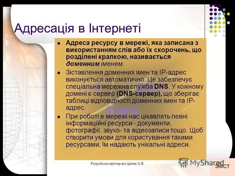 Адресація в Інтернеті Адреса ресурсу в мережі, яка записана з використанням слів або їх скорочень, що розділені крапкою, називається доменним іменем. Зіставлення доменних імен та IP-адрес виконується автоматично. Це забезпечує спеціальна мережна служ
