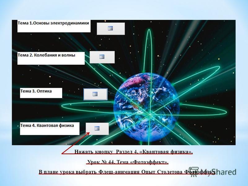 Нажать кнопку Раздел 4. «Квантовая физика». Урок 44. Тема «Фотоэффект». В плане урока выбрать Флеш-анимация Опыт Столетова Фотоэффект