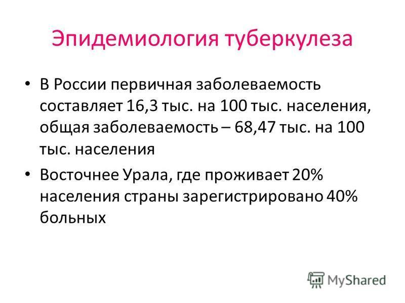 Эпидемиология туберкулеза В России первичная заболеваемость составляет 16,3 тыс. на 100 тыс. населения, общая заболеваемость – 68,47 тыс. на 100 тыс. населения Восточнее Урала, где проживает 20% населения страны зарегистрировано 40% больных